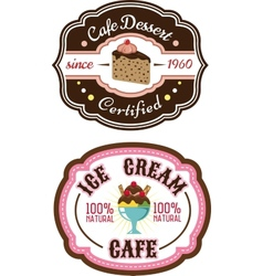 Chocolate pie and ice cream emblems vector image