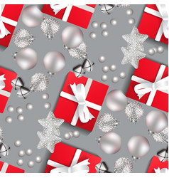 christmas pattern with christmas toys on a gray vector image