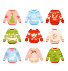 christmas sweaters flat set vector image