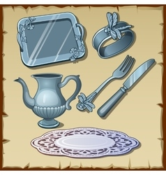 Classic silver dining tableware set six items vector