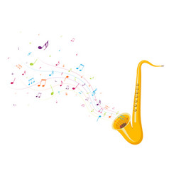 colorful music notes background with saxophone vector image
