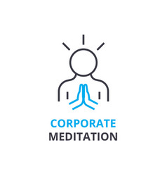 Corporate meditation concept outline icon vector