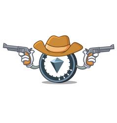 Cowboy kucoin shares character cartoon vector