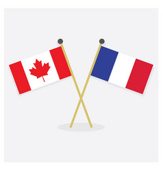 crossed canada and france flags icons with shadow vector image