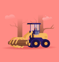 cut wood industry occupation lumberer driving log vector image