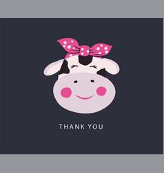 Cute cow head icon on white vector