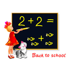 Cute little girl learning count and write numbers vector