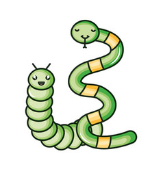 cute little snake with worm kawaii characters vector image