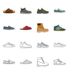 Design of shoe and footwear symbol set of vector