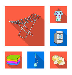 Dry cleaning equipment flat icons in set vector