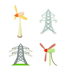 electrical tower icon set cartoon style vector image