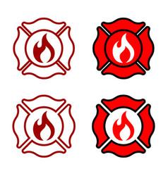 fire department badge logo template design eps 10 vector image