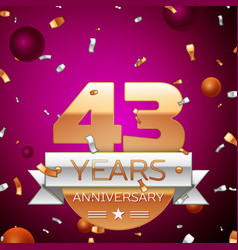 Forty three years anniversary celebration design vector
