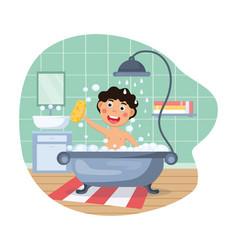 Funny little kid having bath vector