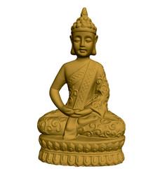 Golden buddha statue 3d buddha polygonal vector
