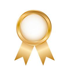 Golden round award badge on white stock vector