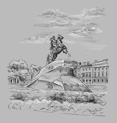 Grey hand drawing st petersburg 3 vector