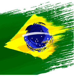 Grunge background in colors of brazilian flag vector