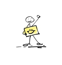 Hand drawing sketch doodle human stick figure vector