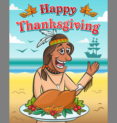 happy native american and baked turkey vector image