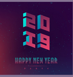 happy new year 2019 party futuristic design vector image