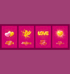 happy valentines day luxury greeting cards set vector image