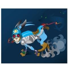 Hare - robot runs away from persecutors vector