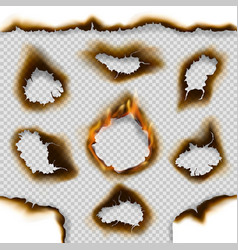 holes burnt paper with fire flames ash cracks vector image