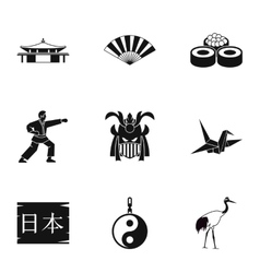 Holiday in Japan icons set simple style vector