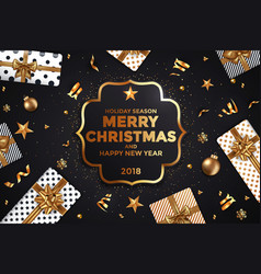 holiday new year card - 2018 black and gold 2 vector image