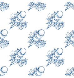 Ice cream cone outline seamless pattern for vector