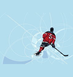 Ice hockey player in red and black dress vector