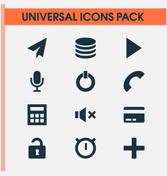 Interface icons set with send play payment and vector