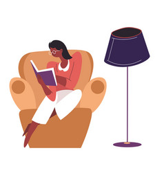 Introvert female character reading book at home vector