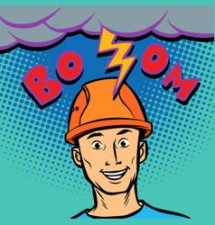 joyful male helmet professional lightning hitting vector image