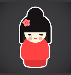 Kokeshi doll flat icon vector