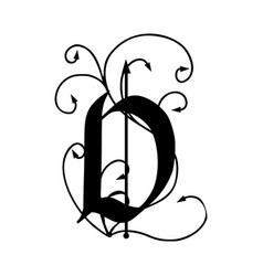 letter d with arrows vector image