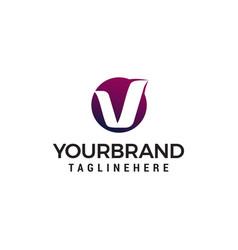 letter v circle logo design concept template vector image