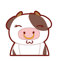 line color adorable and shy cow wild animal vector image