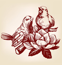 Lovers of birds sitting on a branch hand drawn vector