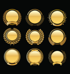 Luxury golden badges laurel wreath collection vector