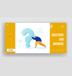 man searching answer or solution website landing vector image