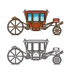 Medieval royal carriage icons or wedding chariot vector