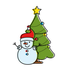 merry christmas pine tree with snowman character vector image