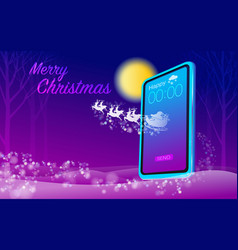 merry christmas with modern technology vector image