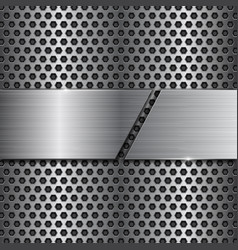 Metal perforated background with cut brushed vector