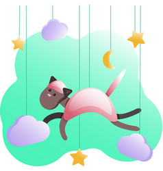 metric posters-cat for baby room greeting cards vector image