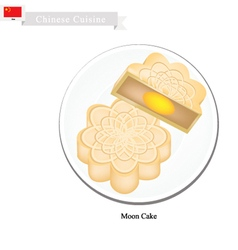 Moon Cake or Chinese Round Pastry for Mid-Autumn vector