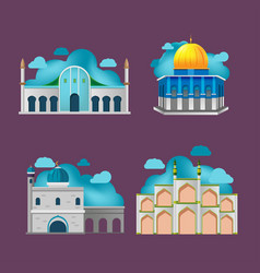 Muslim building culture architecture design vector