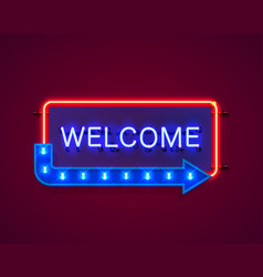 neon welcome open signboard on red background vector image
